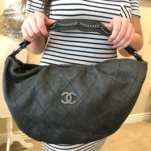 Chanel Charcoal Grey Quilted Leather Shoulder Bag